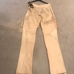 NWT Versace beige suede and leather pants
